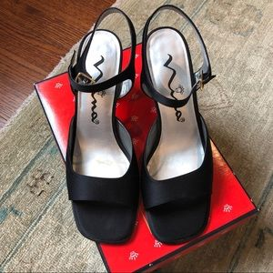 Black satin heeled shoes, worn once
